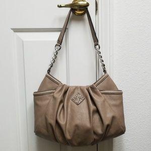 Medium Taupe Purse Hobo Bag Vegan Pebbled Leather